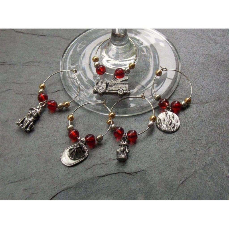 Firefighters Wine Charms - Nicki Lynn Jewelry