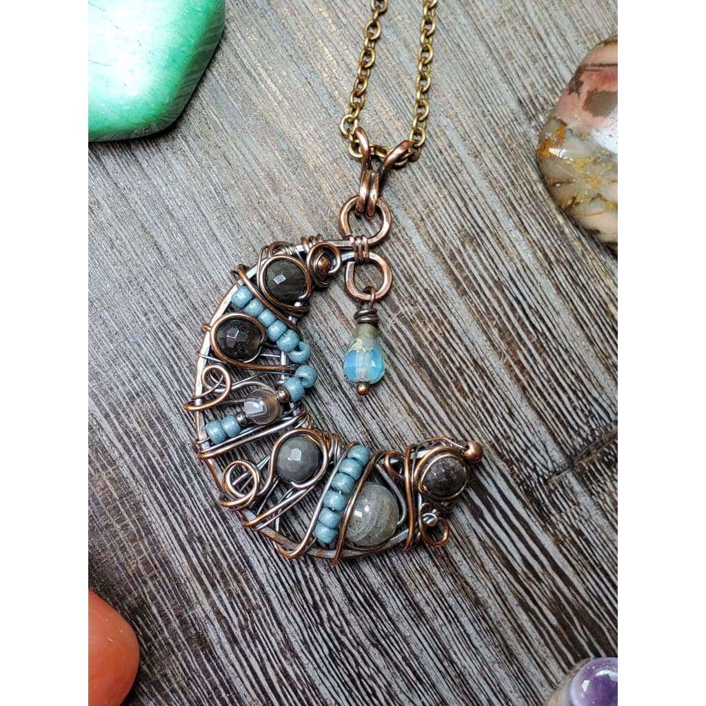 Half Moon Wire Wrapped Copper Necklace-Blues - Nicki Lynn Jewelry