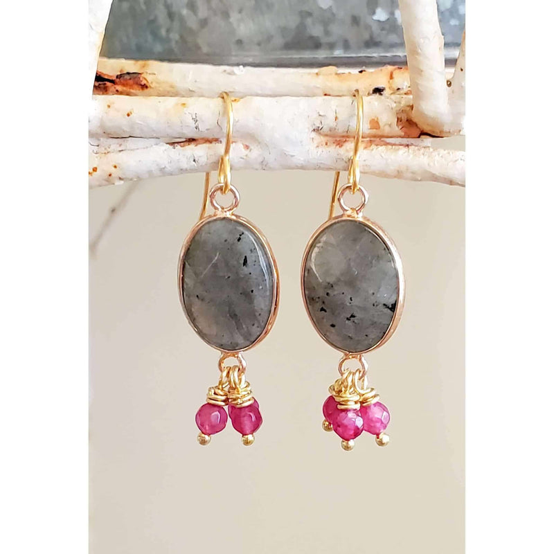 Labradorite and Jade Dangle Earrings - Nicki Lynn Jewelry