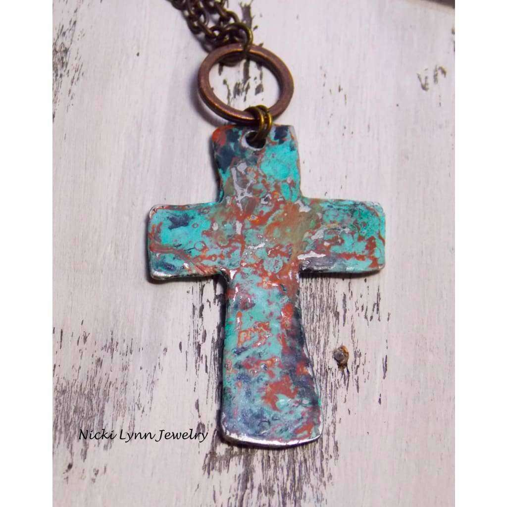 Pewter Artisan Rustic Cross Necklace - Nicki Lynn Jewelry