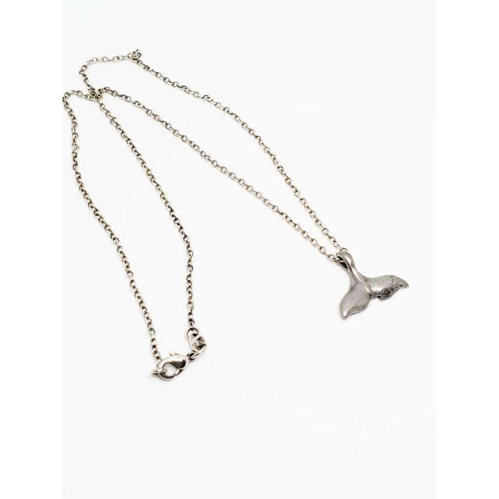 Pewter Whale Tail and Sterling Silver Necklace - Nicki Lynn Jewelry