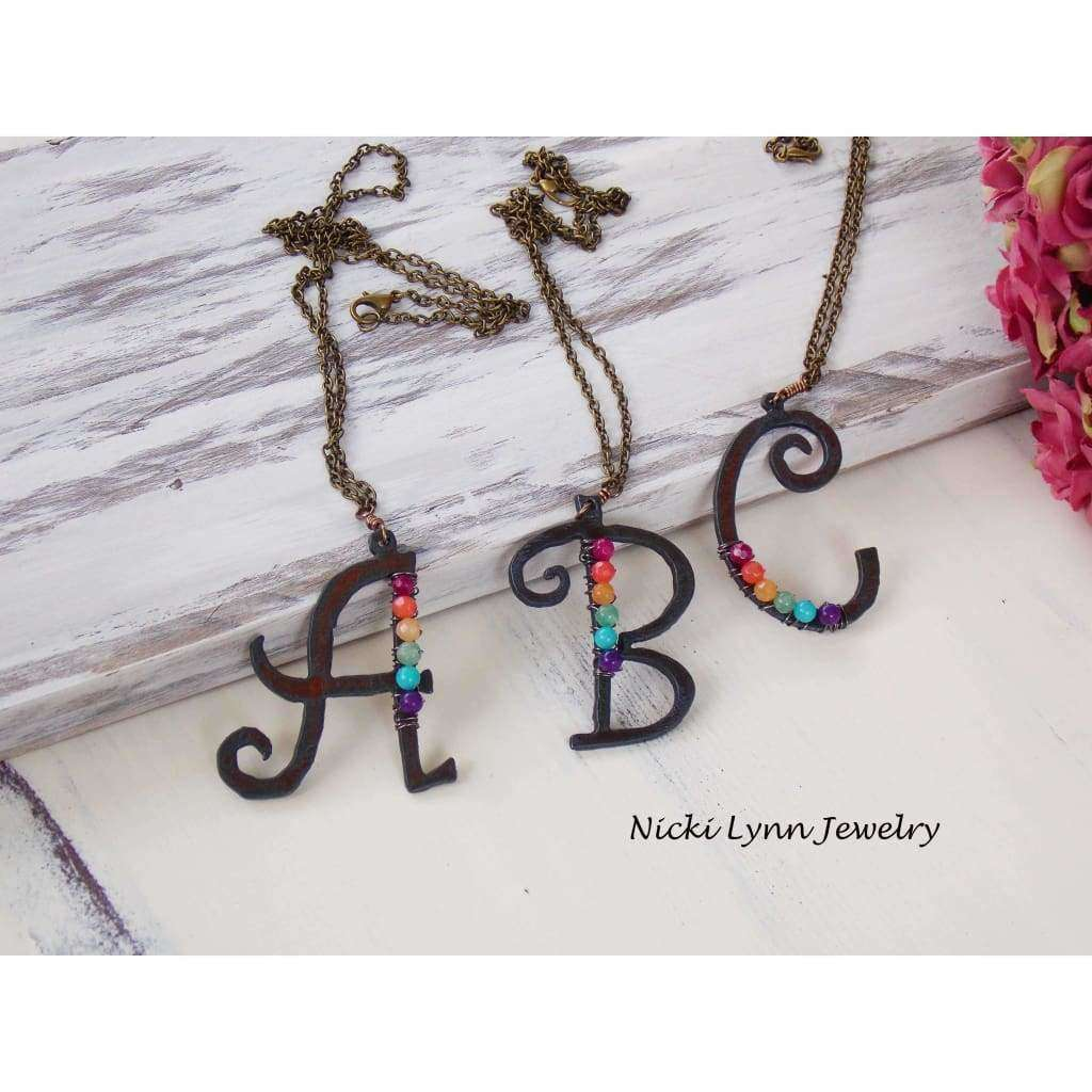 Rustic Iron Monogram Pendant Necklace - Nicki Lynn Jewelry