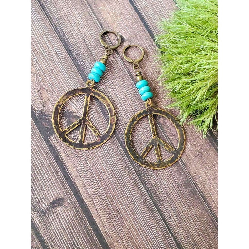 Rustic Turquoise Peace Sign Earrings - Nicki Lynn Jewelry
