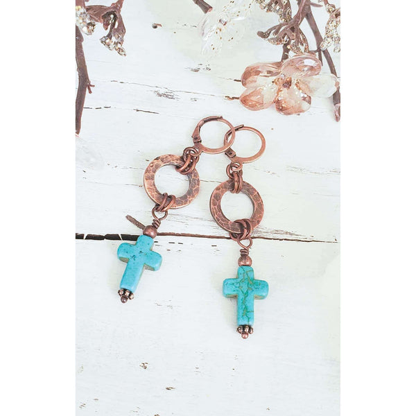 Textured Copper and Turquoise Cross Earrings - Nicki Lynn Jewelry
