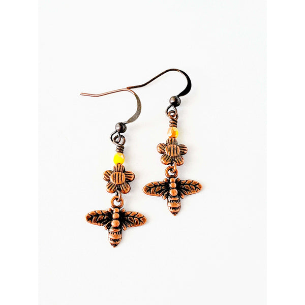 Tiny Bee and Flower Copper Earrings - Nicki Lynn Jewelry