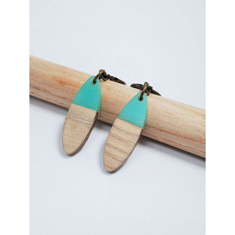Turquoise Resin and Walnut Wood Earrings - Nicki Lynn Jewelry