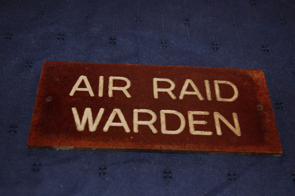 Air Raid Warden door or wall sign, WW2