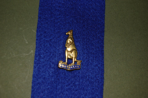 Brass kangaroo lapel badge