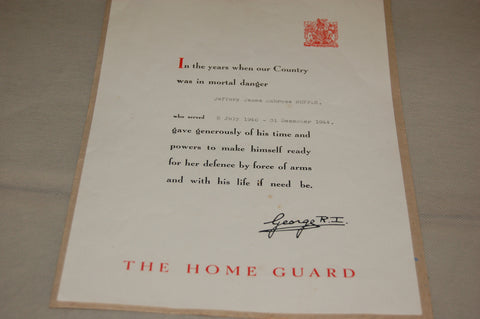 Home Guard Service Recognition Certificate, WW2