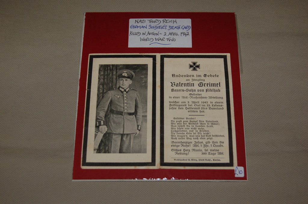WW2 German Soldier's Death Card