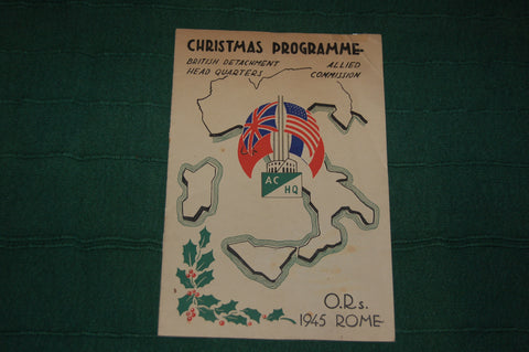 Christmas Programme, British Detachment HQ, Allied Commission, O.Rs. 1945 Rome