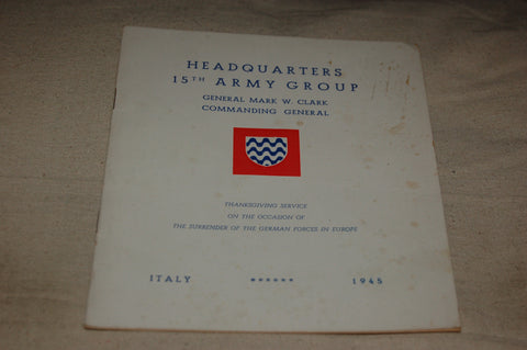 1945 Thanksgiving Order of Service, HQ 15th Army Group