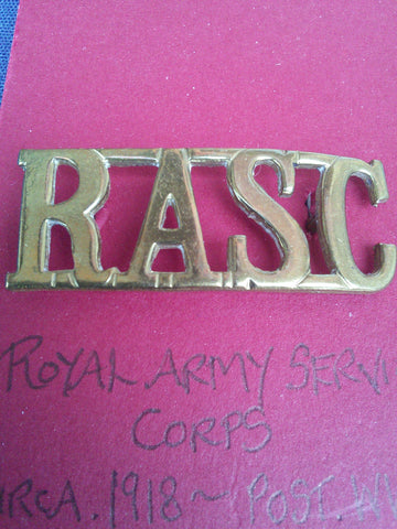 Original brass shoulder title Royal Army Service Corps