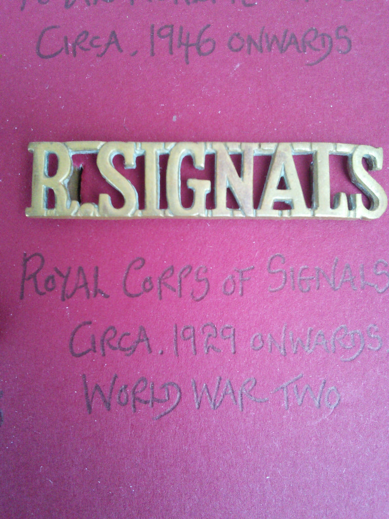 Royal Corps of Signals original brass shoulder title