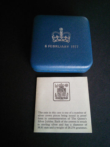 Sterling Silver proof crown commemorating The Queen's Silver Jubilee, 1977