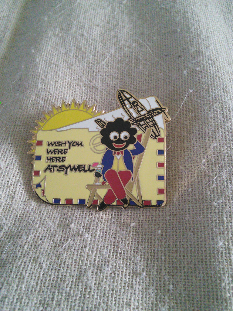 Golly pin badge 'Wish you were here at Sywell'