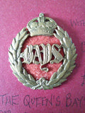 Original cap badge The Queen's Bays (2nd Dragoon Guards)