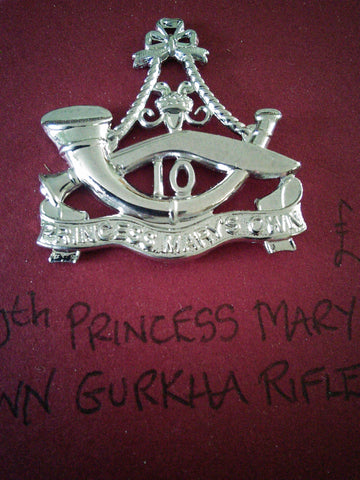 Original cap or beret badge 10th Princess Mary's Own Gurkha Rifles