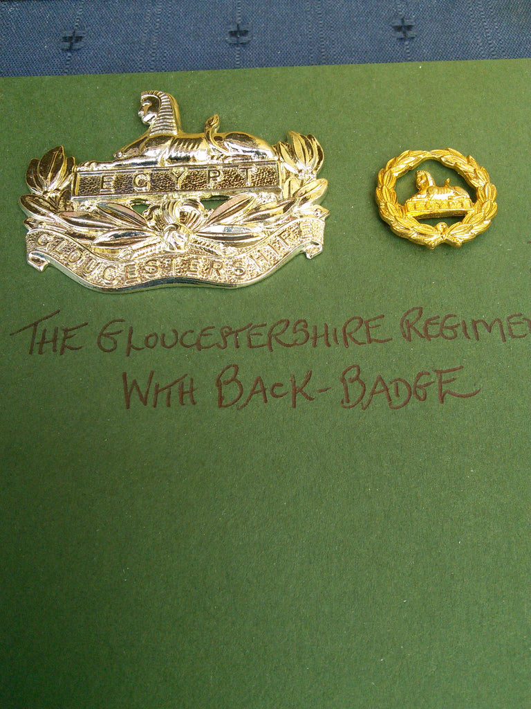 Anodised cap badge The Gloucestershire Regiment with back-badge