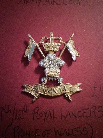 9th/12th Royal Lancers (Prince of Wales's) original anodised cap badge