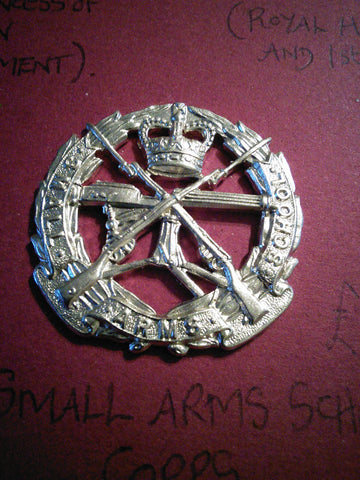 Small Arms School Corps original anodised cap badge