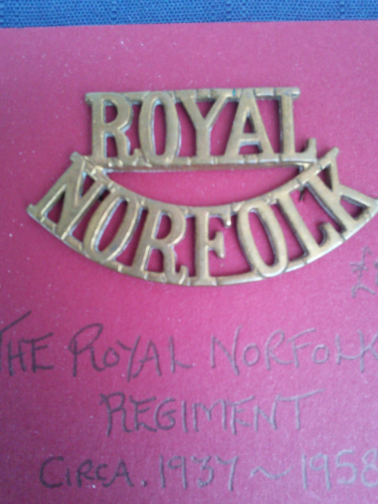 Original brass shoulder title The Royal Norfolk Regiment