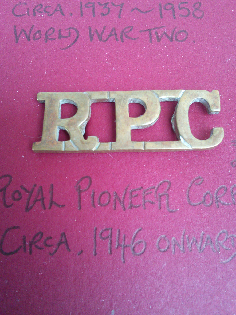 Original metal shoulder title Royal Pioneer Corps