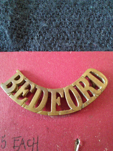 Original metal shoulder title The Bedfordshire Regiment