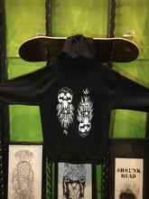 "Load image into Gallery viewer, Shrunken Head ""As Above So Below"" Zip Up Hoodie (Black)"