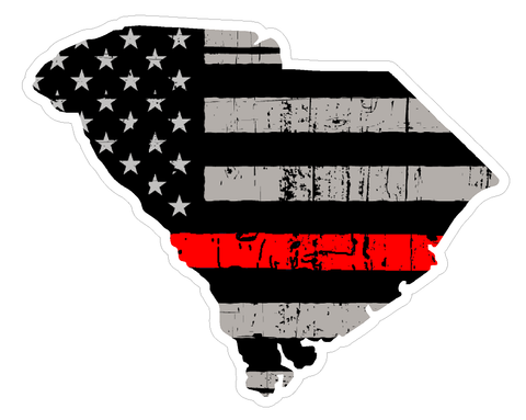 South Carolina State (C41) Thin Red Line Vinyl Decal Sticker Car/Truck Laptop/Netbook Window