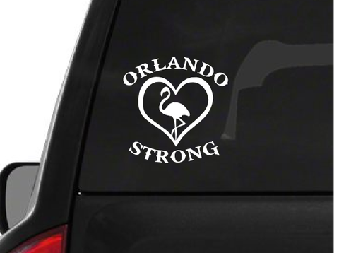 White Orlando Strong Flamingo (F26) Support Vinyl Decal Sticker Car/Truck Laptop/Netbook Window