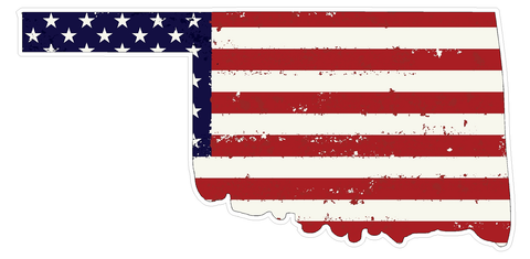 Oklahoma State (J37) USA Flag Distressed Vinyl Decal Sticker Car/Truck Laptop/Netbook Window