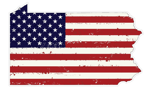 Pennsylvania State (J39) USA Flag Distressed Vinyl Decal Sticker Car/Truck Laptop/Netbook Window