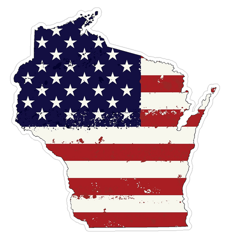Wisconsin State (J49) USA Flag Distressed Vinyl Decal Sticker Car/Truck Laptop/Netbook Window