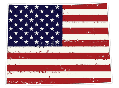 Wyoming State (J50) USA Flag Distressed Vinyl Decal Sticker Car/Truck Laptop/Netbook Window