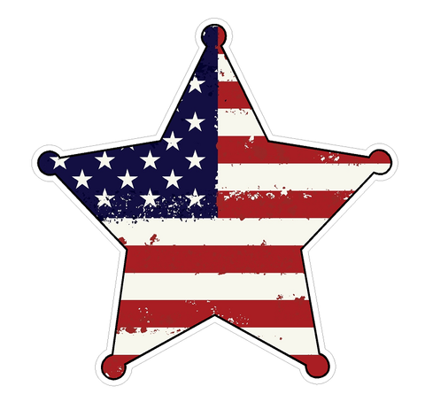 Badge Shape (J54) USA Flag Distressed Vinyl Decal Sticker Car Laptop/Netbook Window