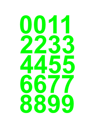 "1"" Inch Premium Mailbox Number Vinyl Decal Sticker Sheet (Lime Green)"