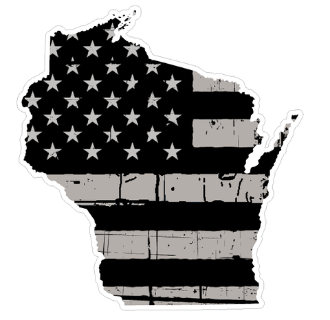 Wisconsin State (N49) Distressed Flag Vinyl Decal Sticker Car/Truck Laptop/Netbook Window