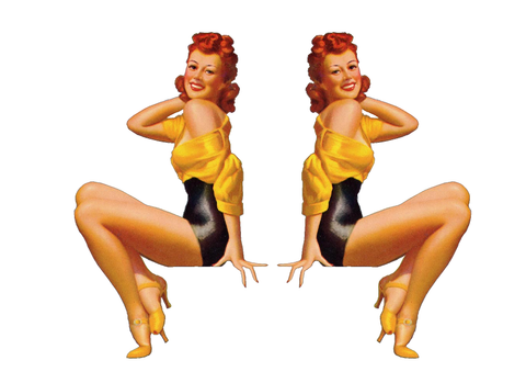 Set of 2 Pin Up Girl (G7) 6 Inch Airplane Sticker Car Window Decal