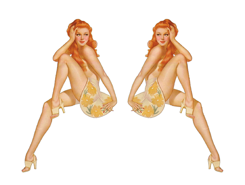 Set of 2 Pin Up Girl (G9) 6 Inch Airplane Sticker Car Window Decal