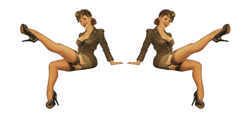 Set of 2 Pin Up Girl (G10) 6 Inch Airplane Sticker Car Window Decal