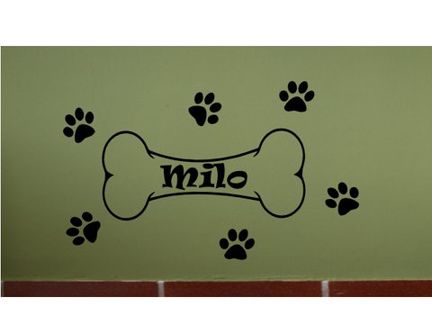 Personalized (W21) Name Dog Bone Vinyl Decal Sticker for Wall Custom Arts & Crafts/Mission Black and Greenstar