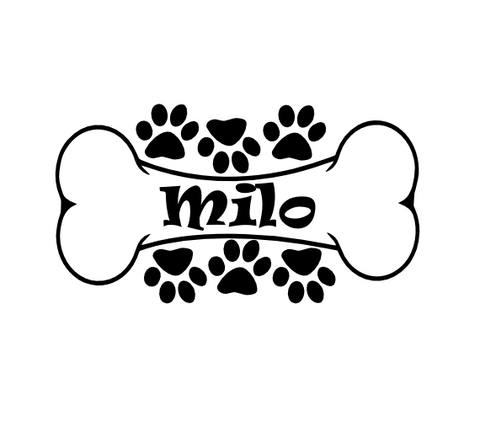 Personalized (R13) Name Dog Bone Vinyl Decal Sticker Custom