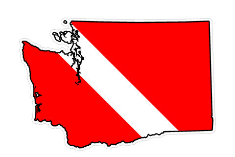 Washington State (B47) Diver Down Flag Yeti Tumbler Decal Sticker Laptop