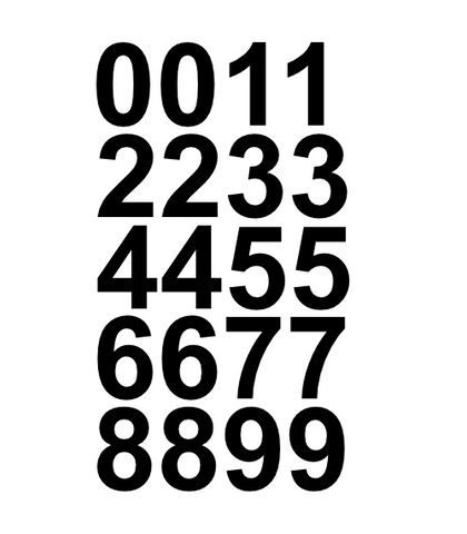 "1"" Inch Premium Mailbox Number Vinyl Decal Sticker Sheet (Black)"
