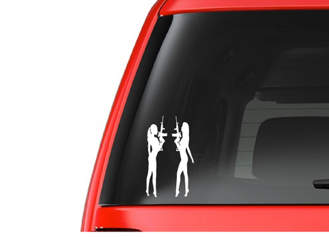 Girls with Guns (G1) Vinyl Decal Sticker Car/Truck Laptop/Netbook Window