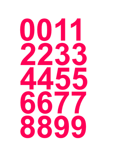 "1"" Inch Premium Mailbox Number Vinyl Decal Sticker Sheet (Hot Pink)"