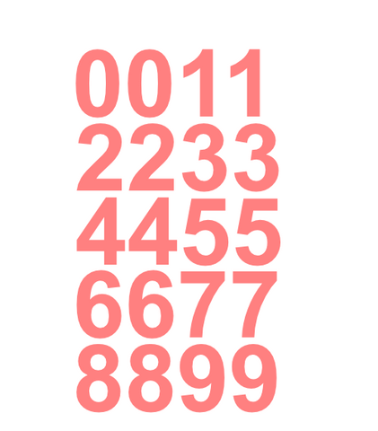 "1"" Inch Premium Mailbox Number Vinyl Decal Sticker Sheet (Soft Pink)"