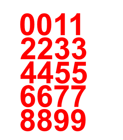 "1"" Inch Premium Mailbox Number Vinyl Decal Sticker Sheet (Red)"