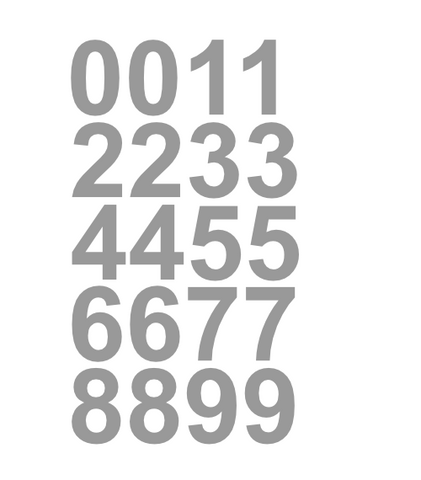 "1"" Inch Premium Mailbox Number Vinyl Decal Sticker Sheet (Silver)"